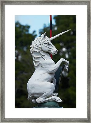 Fantasy Beast At Tudor Gardens Framed Print by David Wall