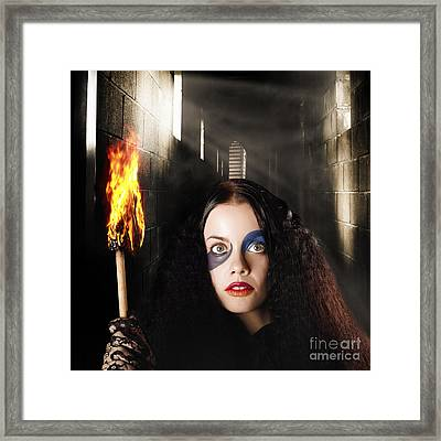 Fantasy Jester Walking Magical Halls Of Illusion Framed Print by Jorgo Photography - Wall Art Gallery