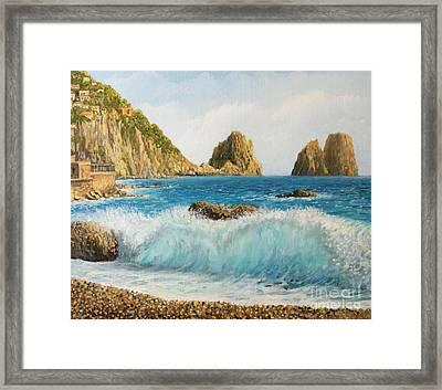 Faraglioni On Island Capri Framed Print