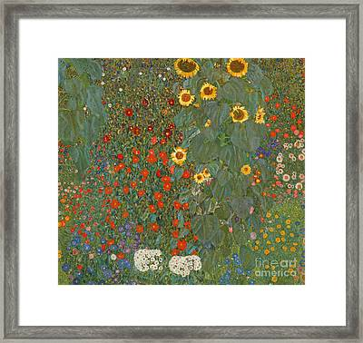 Farm Garden With Sunflowers Framed Print by Gustav Klimt