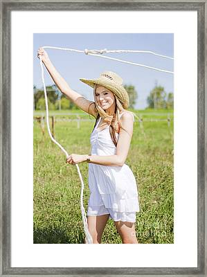 Farming Woman With Rope Framed Print