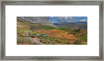 Farmland At The Edge Of El Torcal Framed Print by Panoramic Images