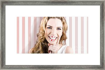 Fashion Cosmetic Lifestyle. Retro Makeup Woman Framed Print by Jorgo Photography - Wall Art Gallery