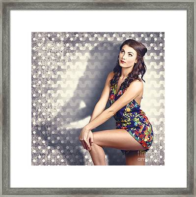 Fashion Photo. Young Pinup Woman With Retro Makeup Framed Print