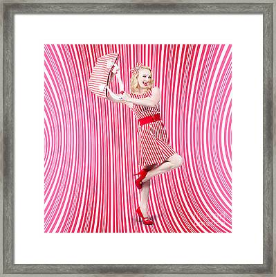 Fashion Shopping Woman. Stylish Retro Design Framed Print by Jorgo Photography - Wall Art Gallery