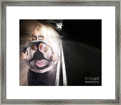Fast Business Woman Driving Car With Light Trails Framed Print
