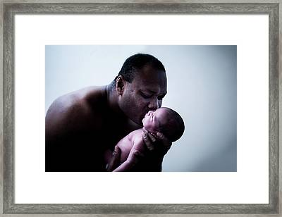 Father And Baby Son Framed Print by Samuel Ashfield
