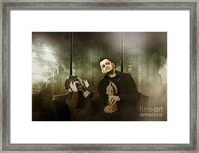 Father And Son In Gasmask. Nuclear Terror Attack Framed Print by Jorgo Photography - Wall Art Gallery