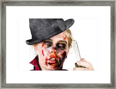 Fearful Zombie Woman Holding Blown Out Candle Framed Print by Jorgo Photography - Wall Art Gallery