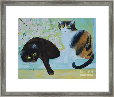 Framed Print featuring the painting Feline Friends. Inspirations Collection. by Oksana Semenchenko
