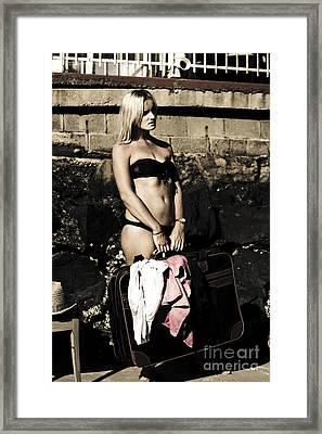 Female Adult Holding Suitcase On Retro Holiday Framed Print