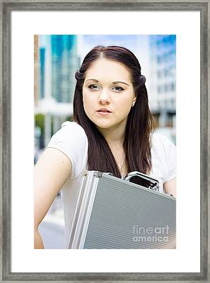 Female Architect Carrying Plans In Briefcase Framed Print by Jorgo Photography - Wall Art Gallery