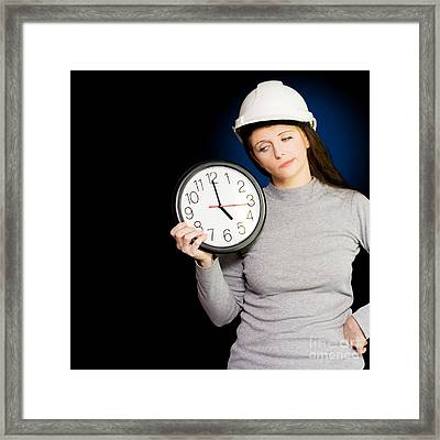 Female Architectural Engineer Watching Time Pass Framed Print by Jorgo Photography - Wall Art Gallery