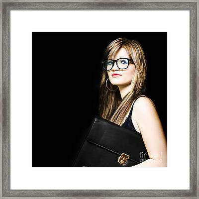 Female Art Student Holding Portfolio Compendium Framed Print by Jorgo Photography - Wall Art Gallery