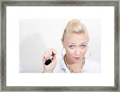 Female Beautician Giving Make-up Application Tips Framed Print by Jorgo Photography - Wall Art Gallery