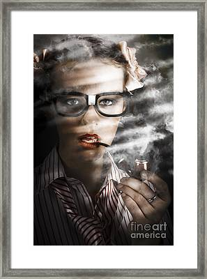 Female Business Spy With Smoke Near Window Blinds Framed Print by Jorgo Photography - Wall Art Gallery