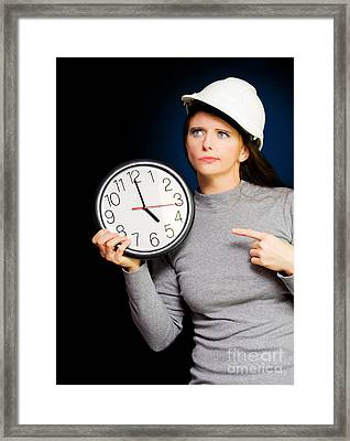 Female Construction Builder Pointing At Clock Framed Print