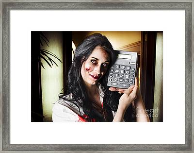 Female Devil Business Woman Showing Profits Framed Print by Jorgo Photography - Wall Art Gallery