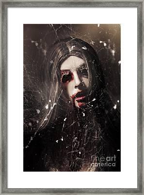 Female Face Of Dark Horror. Eye Of The Black Widow Framed Print by Jorgo Photography - Wall Art Gallery