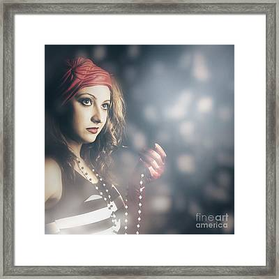 Female Fashion Model Holding Jewelry Necklace Framed Print by Jorgo Photography - Wall Art Gallery