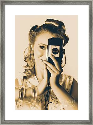 Female Fashion Photographer Taking People Pictures Framed Print by Jorgo Photography - Wall Art Gallery