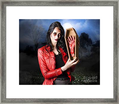 Female Grave Robber Stealing Limbs And Body Parts Framed Print by Jorgo Photography - Wall Art Gallery