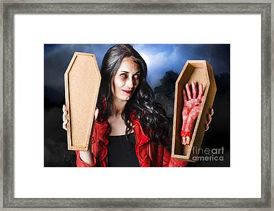 Female Halloween Zombie Holding Undead Hand Framed Print by Jorgo Photography - Wall Art Gallery