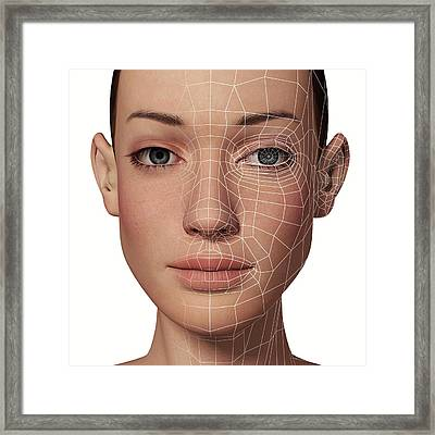Female Head With Biometric Facial Map Framed Print by Alfred Pasieka