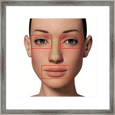 Female Head With Biometric Markers Framed Print by Alfred Pasieka