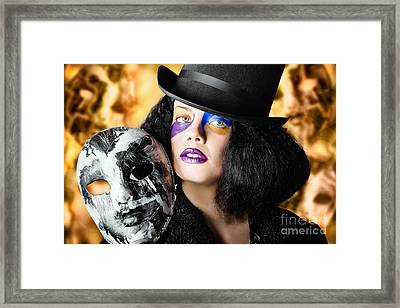 Female Jester Holding Carnival Mask. Halloween Fete  Framed Print by Jorgo Photography - Wall Art Gallery