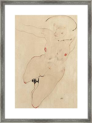 Female Nude Framed Print by Egon Schiele
