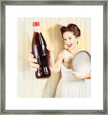 Female Pin-up Waiter Serving Drink At Summer Party Framed Print by Jorgo Photography - Wall Art Gallery