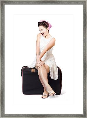 Female Pinup Travelling Tourist Sitting On Luggage Framed Print by Jorgo Photography - Wall Art Gallery