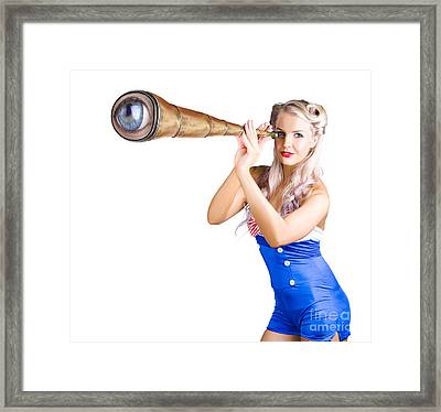 Female Sailor With Telescope Framed Print by Jorgo Photography - Wall Art Gallery