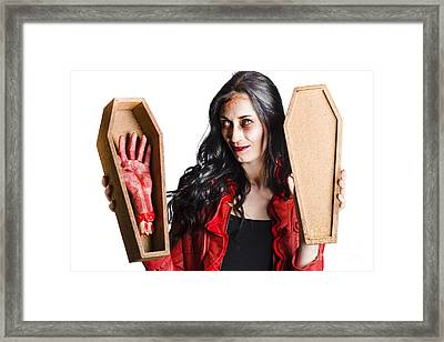 Female Vampire With Good Mourning Welcome Framed Print by Jorgo Photography - Wall Art Gallery