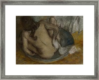 Femme Au Tub Framed Print by Edgar Degas