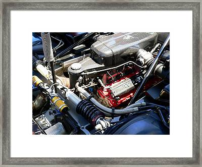 Framed Print featuring the photograph Ferrari Engine by Jeff Lowe