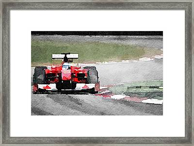 Ferrari F1 Race Watercolor Framed Print by Naxart Studio