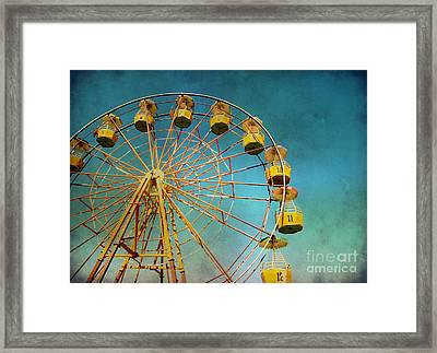 Framed Print featuring the photograph Ferris Wheel With Grunge Effect by Mohamed Elkhamisy