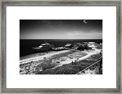 Ferry And Dock At Fort Jefferson Dry Tortugas National Park Florida Keys Usa Framed Print by Joe Fox