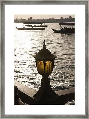 Ferry Boats And Skyline Along Khor Framed Print