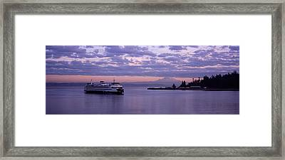 Ferry In The Sea, Bainbridge Island Framed Print by Panoramic Images