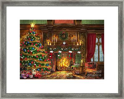 Festive Fireplace Framed Print