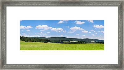 Field With A Mountain Range Framed Print by Panoramic Images