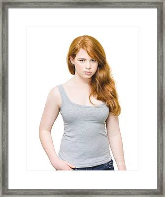 Fiery And Unhappy Woman With Red Hair Framed Print