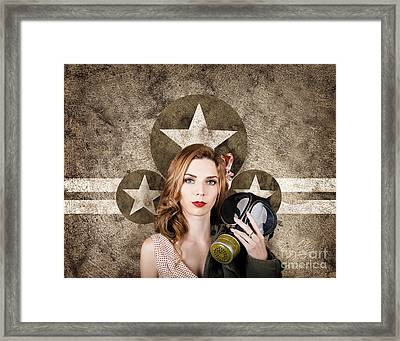Fifties Army Pin Up Woman. Remembrance Day Framed Print