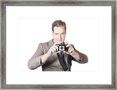 Fifties Crime Scene Photographer Taking Picture Framed Print by Jorgo Photography - Wall Art Gallery