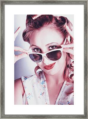 Fifties Glamor Girl Wearing Retro Pin-up Fashion Framed Print by Jorgo Photography - Wall Art Gallery