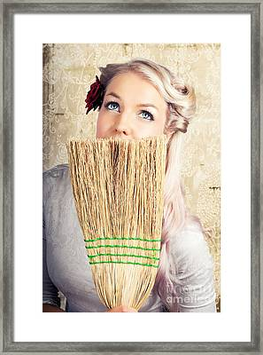 Fifties Housewife Daydreaming While Cleaning Framed Print by Jorgo Photography - Wall Art Gallery