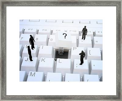 Figures On Computer Keyboard Framed Print by Andrzej Wojcicki
